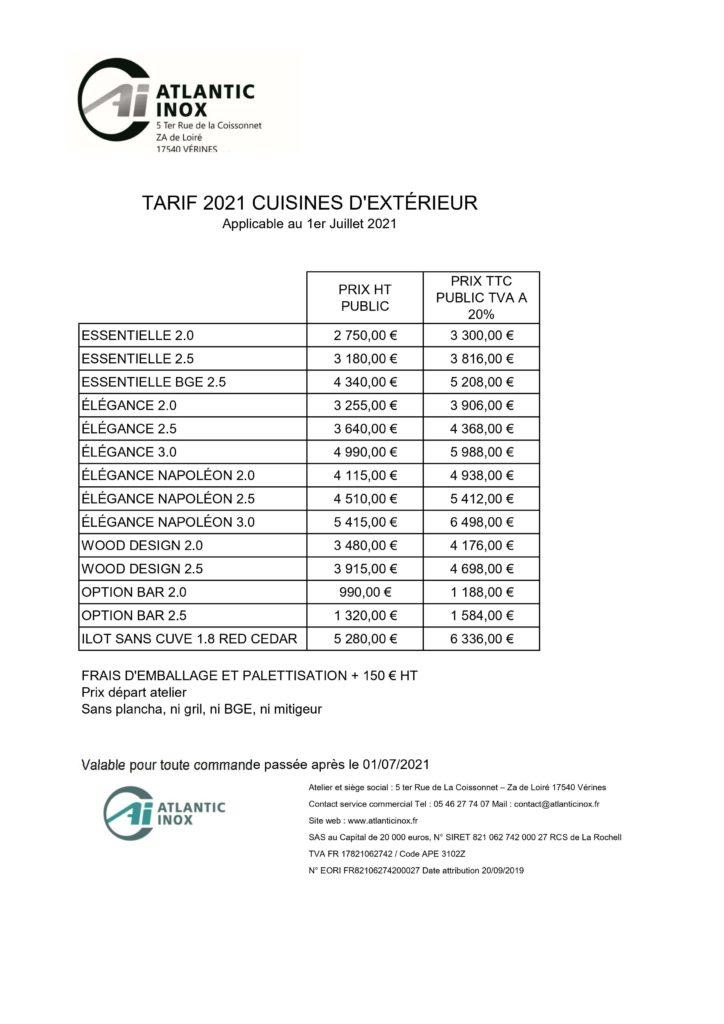 Tarifs Atlantic Inox pp 2021 01072021 cuisine d'extérieur